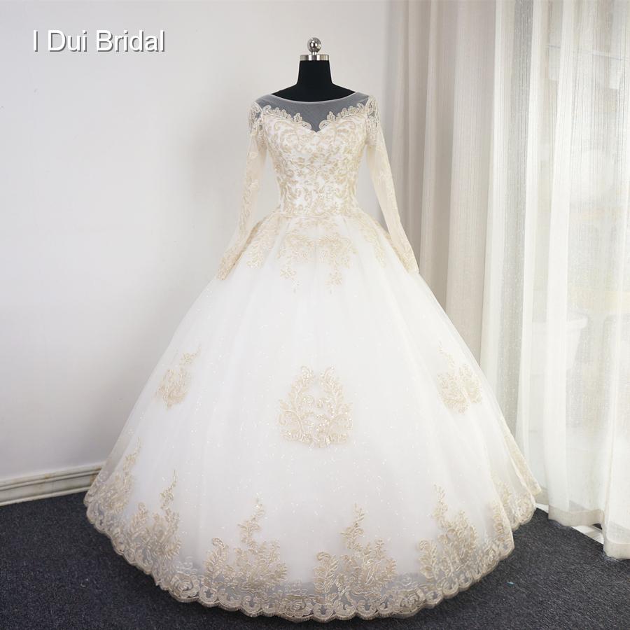 Gold Lace Ball Gown Wedding Dress with Long Sleeve Sequin Unique ...