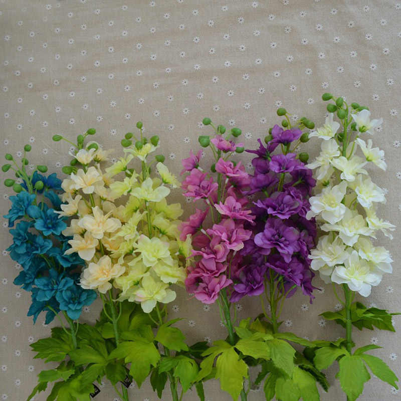 11pcs Lot Silk Delphinium Flowers Hyacinth With Leaves Fake Flower Consolida Ajacis Posy Wedding Party Home Vase Decoration Silk Delphinium Delphinium Flowersflower Flower Aliexpress