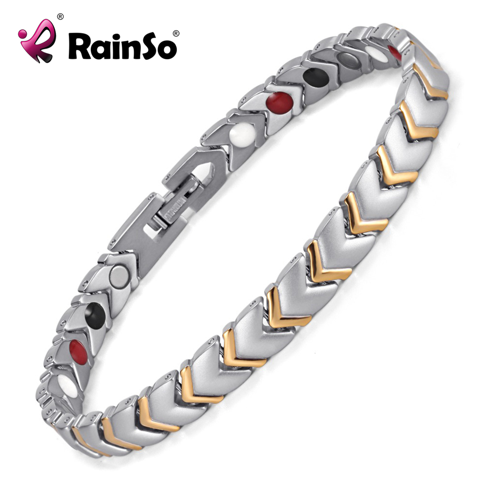 Rainso Titanium Health Power Armbånd Bangle For Women Smykker med 4 Elements Magnet Par Tilbehør OTB-034