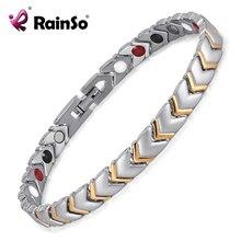 Poder brazalete de la pulsera para las mujeres joyería rainso titanium salud con 4 elementos imán accesorios parejas otb-034