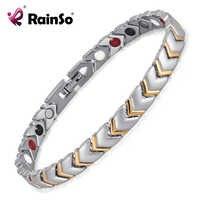 Rainso titânio saúde energia pulseira para jóias femininas com 4 elementos magnético casais acessórios OTB-034