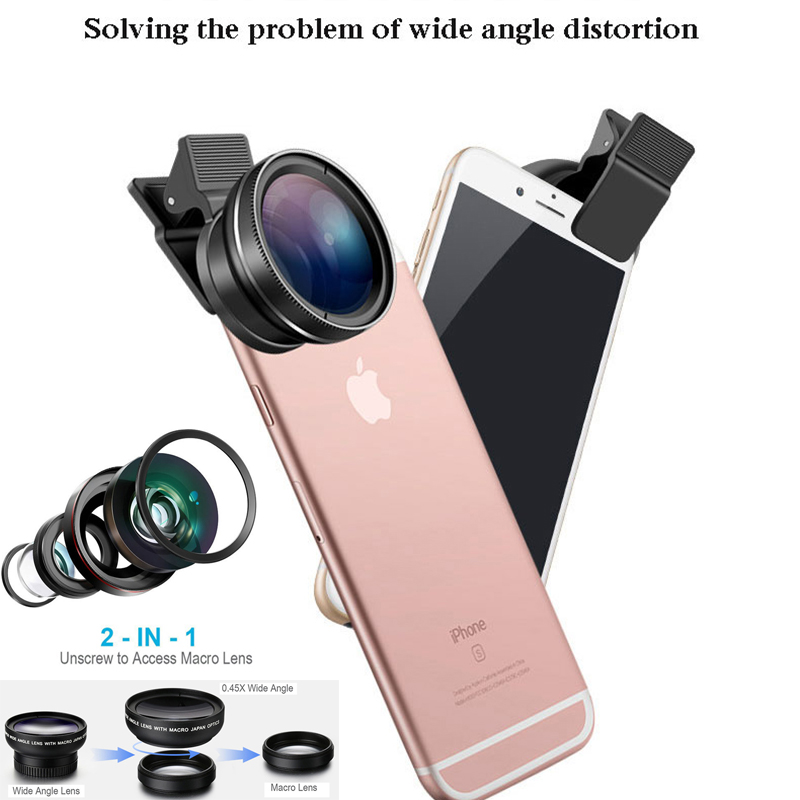 New HD 37MM 2in1 Lens 0.45X Wide Angle+12.5X Macro Lens Professional HD Phone Camera Lens for All iPhone and Android Phone-in Monocular/Binoculars from Sports & Entertainment
