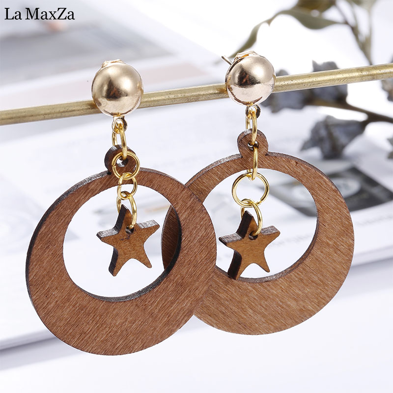Natural Wood Earring Wooden Earrings For Women Exaggerated Statement Hollow Round Star Stud Earrings Girls Fashion Jewelry