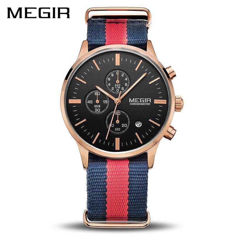 Mode Casual Leinwand Bügel Männer Quarz Armbanduhr MEGIR Sport Casual Wasserdicht Chronograph Kalender Uhren Jungen Geschenk Uhr