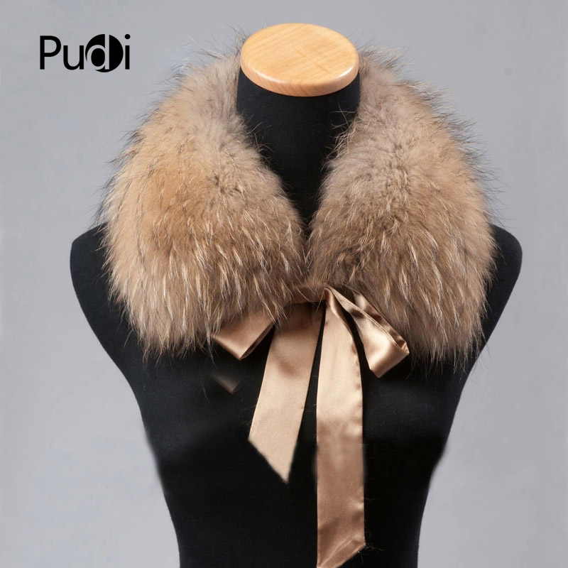 Pudi CLR009 the new women fur collar Genuine Winter Raccoon Fur   Scarf     Scarves     Wrap   Neck Warmer Shawl Collar