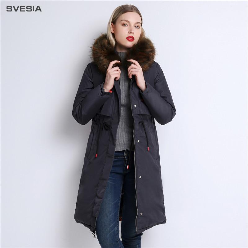 SVESIA зимняя куртка женская парка 2018 Casaco Feminino пальто Женская ветровка плащ искусственной меховой воротник уличная теплые парки
