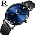 OnTheEdge мужские черные наручные часы простые кварцевые 6 мм тонкие женские часы для девочек водонепроницаемые мужские часы из нержавеющей ста...