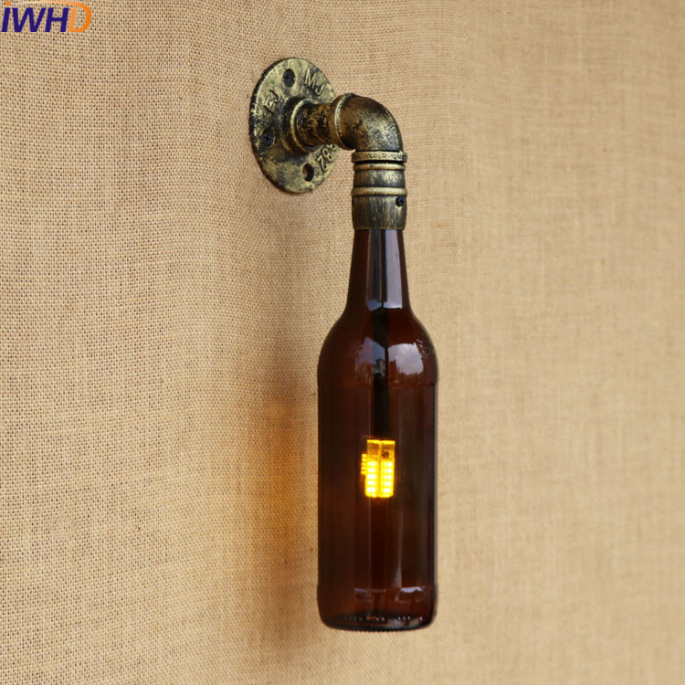 Industrial Wall Sconce Lamp Lighting Fixtures With Pocket Watch Water Pipe lamp loft Edison Light Glass Bottle Lights LED 220v 自宅 ワイン セラー
