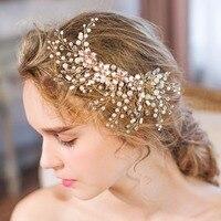 Hermosa flor de la boda tiara espumoso plateado cristal perla nupcial pelo Peines horquilla joyería Accesorios de pelo re609