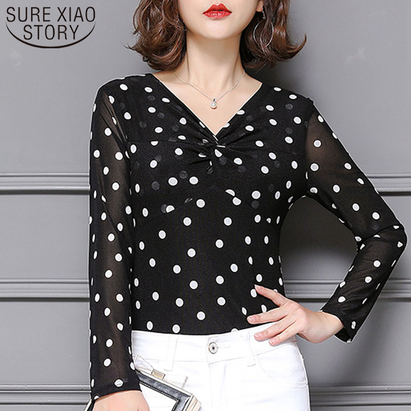 Fashion Lady Printing Large Size Lady Women Blouse and Top2019 The Spring New Long-sleeve Mesh Shirt Women Bottom Shirt <font><b>3601</b></font> 50 image