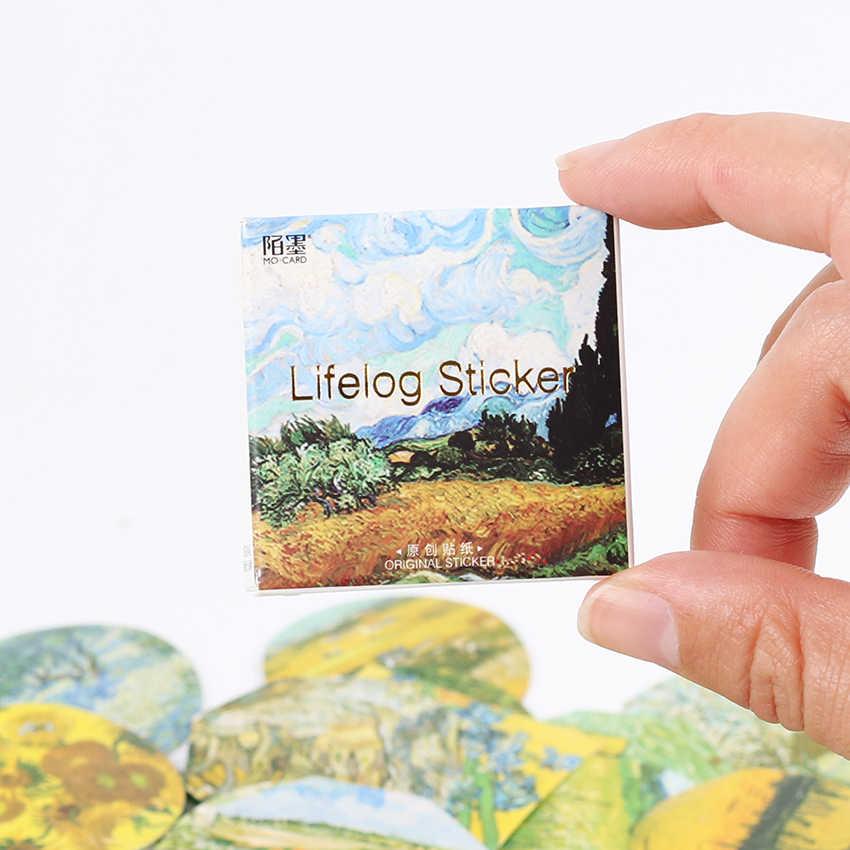 45 unids/set Van Gogh pegatinas artista pintura clásica viajero cuaderno diario DIY decoración pegatinas pegatina de papelería