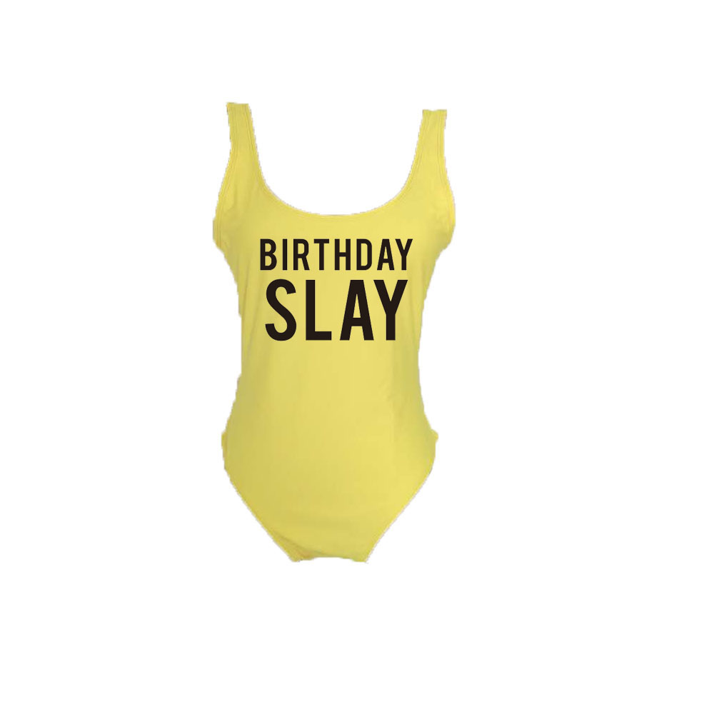 fb8c8e580b47b Detail Feedback Questions about BIRTHDAY SLAY Black Letters Printing  Bodysuit 2018 Sexy One Piece Women Swimsuit Thong Swimwear Backless Monokini  Pink Blue ...