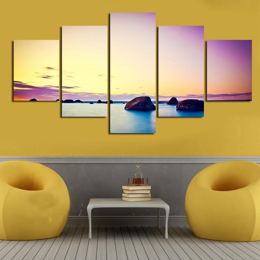 Aliexpress.com : Buy 2017 New 5 Piece Big Size Colorful Sky Wall Art ...
