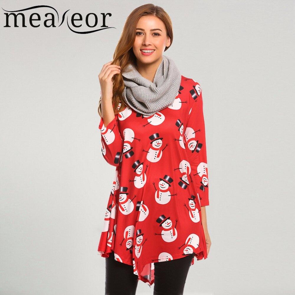 43d4430e8 Meaneor Women Christmas T Shirts 3 4 Sleeve Snowman Floral Print ...