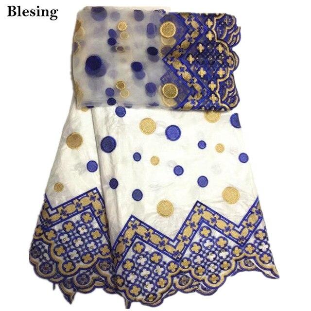 Blesing-derniers tissus africains Bazin riches   En coton noir avec dentelle Brocade brodée, joli tissus africains