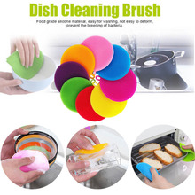 Multifunctional Silicone Dishwashing Brush Dish Cloth Thick Tableware Cleaning Detergent Kitchen Washing 8 Colors