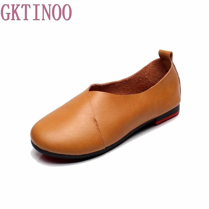 Plus Size(35-43) 2018 Shoes Woman Genuine Leather Women Shoes 6 Colors Loafers Women's Flat Shoes Fashion Women Flats plus size 34 43 women shoes genuine leather flat shoes woman maternity casual work shoes 2018 fashion loafers women flats