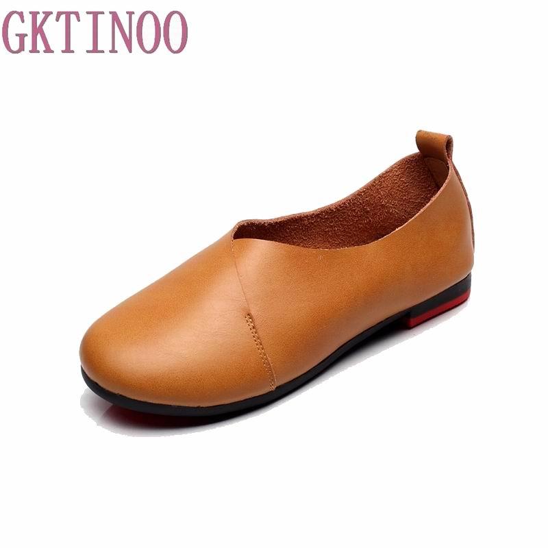 Plus Size(35-43) 2018 Shoes Woman Genuine Leather Women Shoes 6 Colors Loafers Women's Flat Shoes Fashion Women Flats