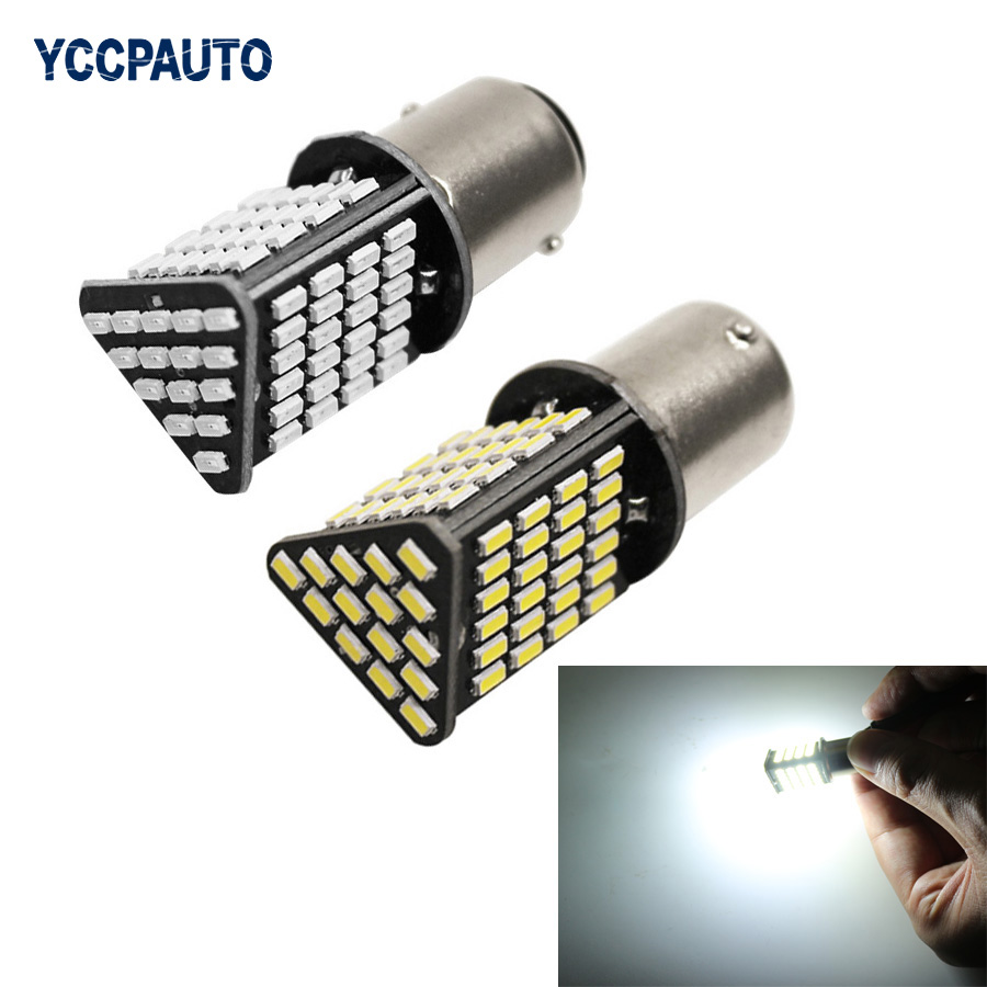 YCCPAUTO 1156 BA15S LED Lights White Red Yellow High Power 3014 87SMD Car Tail Brake Lights Reverse Backup Bulb 2PCS