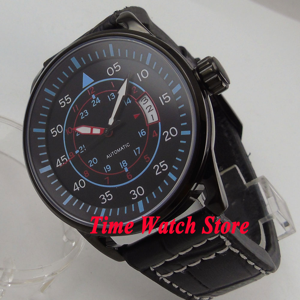 44mm Planca PVD case black dial blue marks date window luminous 24 hours MIYOTA Automatic movement men's watch men PL4 44mm planca black dial luminous 24 hours miyota automatic movement men s watch men pl1