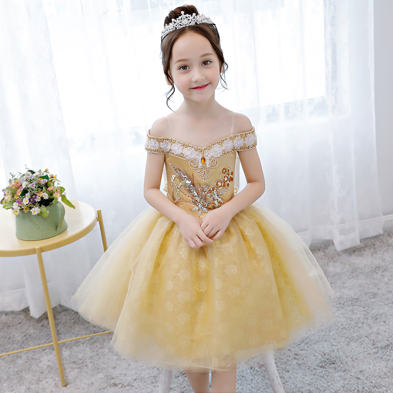Flower Girl Dress Off the Shoulder Appliques Pageant Formal Dress Party Birthday Ball Gown Knee Length Princess Dress все цены