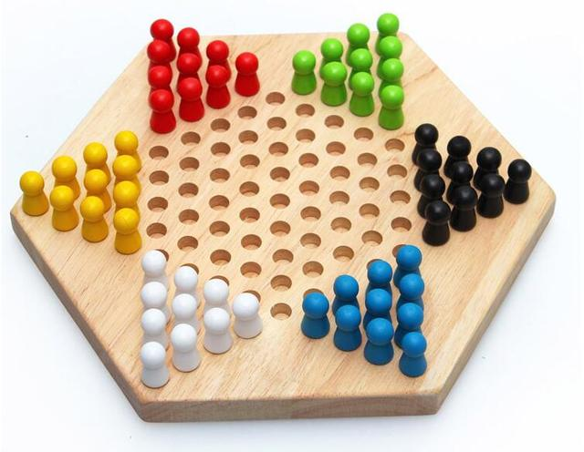 Good deal Traditional Hexagon Wooden Chinese Checkers Family Game Set Child toys Christmas gift