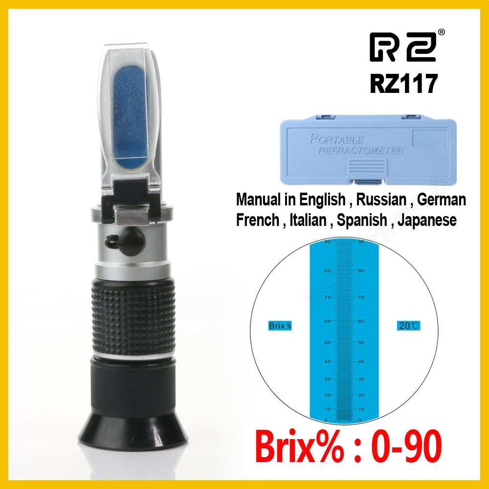 RZ High concentration Brix Refractometer 0~90% Honey Bees Sugar Food Beverages ATC Content Beekeeping RZ117 Meter Tool brix 0 90