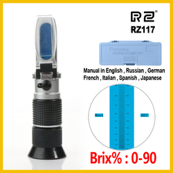 RZ High concentration Brix Refractometer 0~90% Honey Bees Sugar Food Beverages ATC Content Beekeeping RZ117 Meter Tool