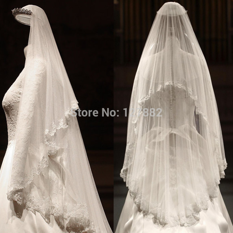 Online Shop Kate Middleton Wedding Veil Vintage Luxury Lace Edge Bridal Short Strands Of Soft White Head Accessories In Stock