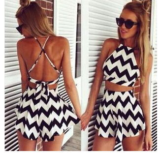 Summer Style Women Striped Playsuit Backless Short...