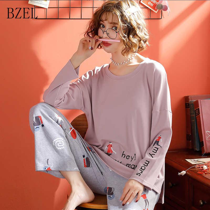 BZEL/Новинка; женские пижамные комплекты; сезон зима-осень; одежда для сна; Милая Пижама с круглым вырезом и героями мультфильмов; Femme; большие размеры; пижама из хлопка; женская ночная Пижама