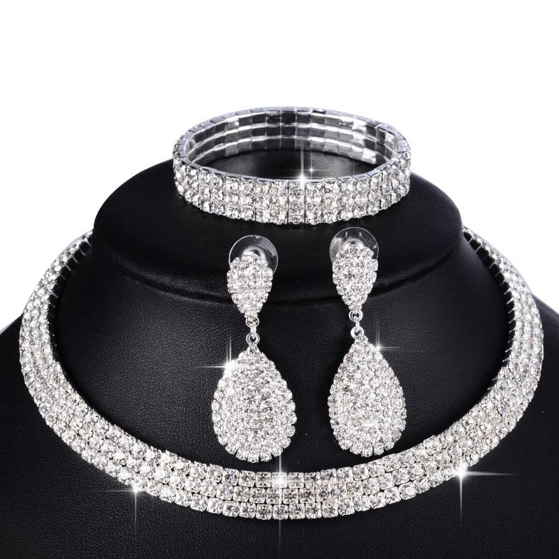 3 PCS Luxury Wedding Bridal Jewelry Sets for Women Necklace Bracelet Australia Crystal Long Earring Set Elastic 11.11 Sale