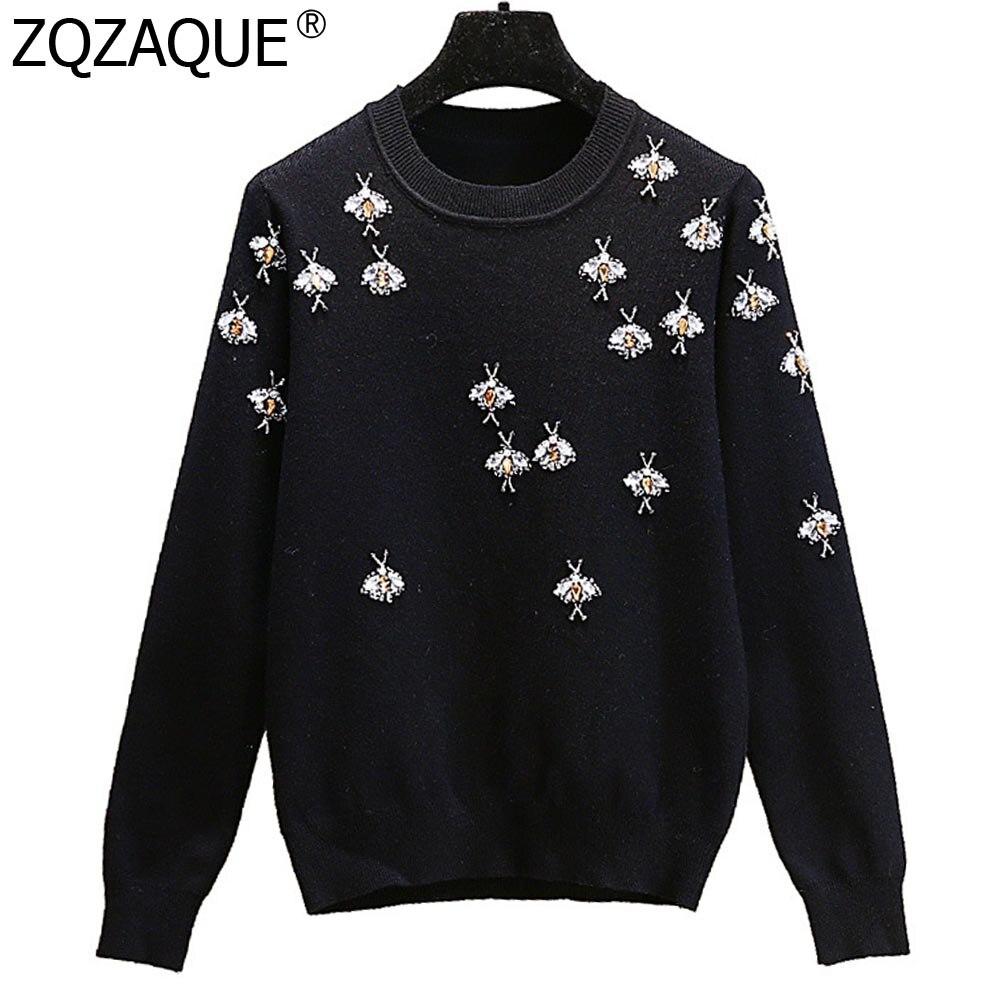 Luxury Brand Designer Women's Fall Winter Sweaters Diamonds Beading Bees Pattern Black Knitwear Good Quality Bottom Tops SY1875
