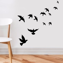 Vinyl Decals Wall Pattern Removable Black Many Flying The Dove of Peace Home Decor Vinyl Wall Sticker Flying Birds Mural AY470 the flying bath