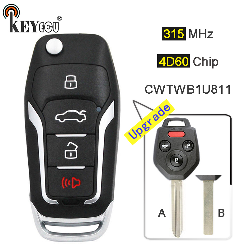 KEYECU 315MHz 4D60 Chip FCC: CWTWBU811 Upgraded Flip Folding 3+1 4 Button Remote Key Fob key for Subaru Legacy Outback 2011-14 new smart remote car key fob 3 button 315mhz 7953 chip for volkswagen touareg
