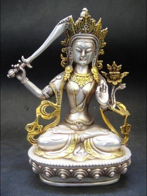 Rafinovaná čínská tibetská stříbrná buddhistická socha bódhisattvy Guanyin Buddha