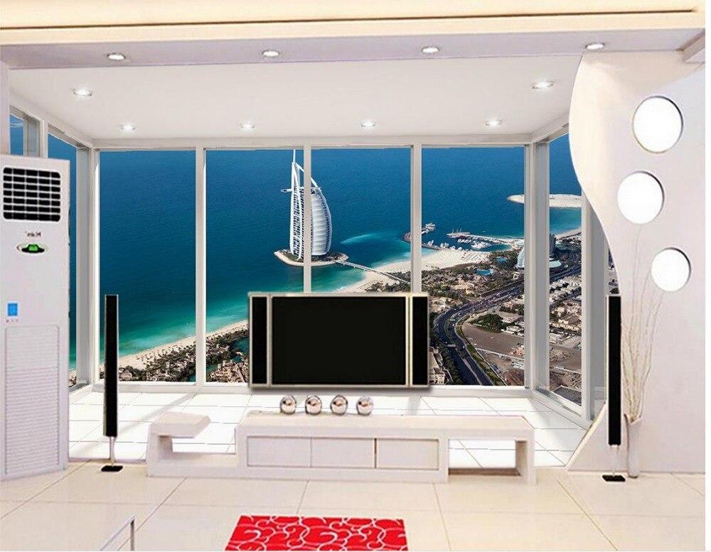 3d обои для комнаты DELUXE Ocean терраса вид Дубай парусный спорт отель для ванной 3d обои стиль жизни обои