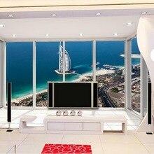Papel pintado 3d para habitación Deluxe terraza del océano vista Dubai altavoz con forma del hotel de vela cuarto de baño papel tapiz 3d papel pintado estilo sala