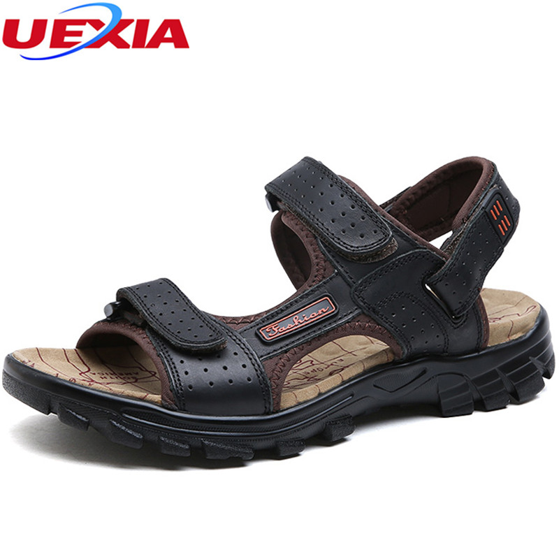 UEXIA Big Size 47 Quality Men Sandals Leisure Leather Summer Cools Light Weight Beach Casual Shoes Handmade Stitching Breathable