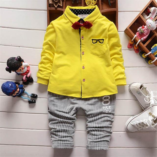 Amarillo navidad Bebé Ropa niño Conjunto Gafas de Manga Larga Impresa Tops Camisa con Corbata + Pantalones Rayados 2 Unids Trajes de Algodón 1-4