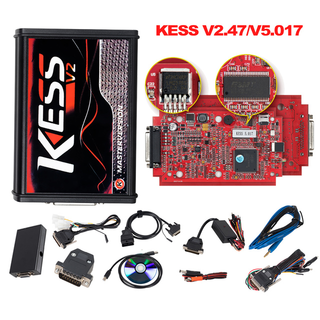 KESS V2 Master KessV2 V2.47 V2.23 V5.017 EU Red PCB No Token Limit ECU Programer Tool KESS Ktag Tuning Kit For Car/Tractor/TRUCK