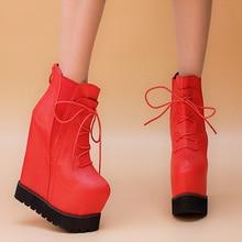 2015 New Winter Arrivals Female Lace Up Boots Elegant High Heels Shoes 15cm Black Platform Wedges Booties