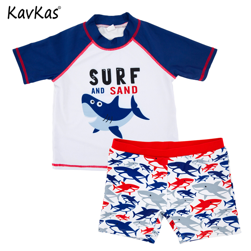 KAVKAS 2018 Summer Cute Kids Baby Boy Swimwear Dotted Beachwear Rash Guards Bathing Suit Swimwear Swimsuit Cartoon Tops Shorts