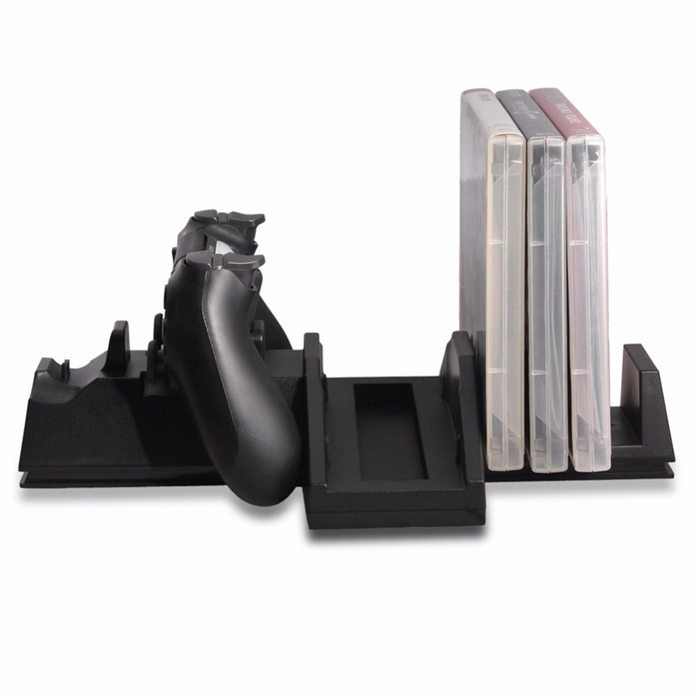 1PCS Game Cooling Base Handle Gaming Disc Storage Holder USB Double Charger Station For PS4/PRO