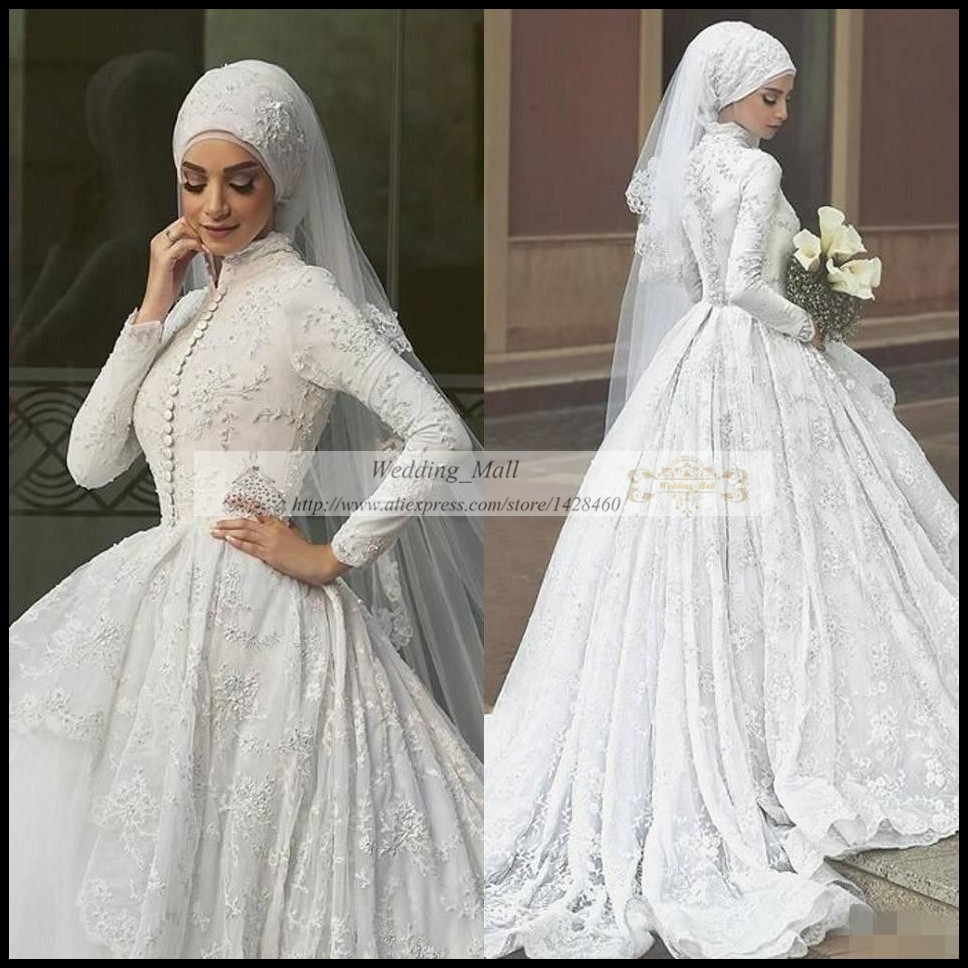 Arab Hot Sale White Ball Gown Princess Wedding Dresses Muslim 2017 Long Full Sleeves Attactive Sweep