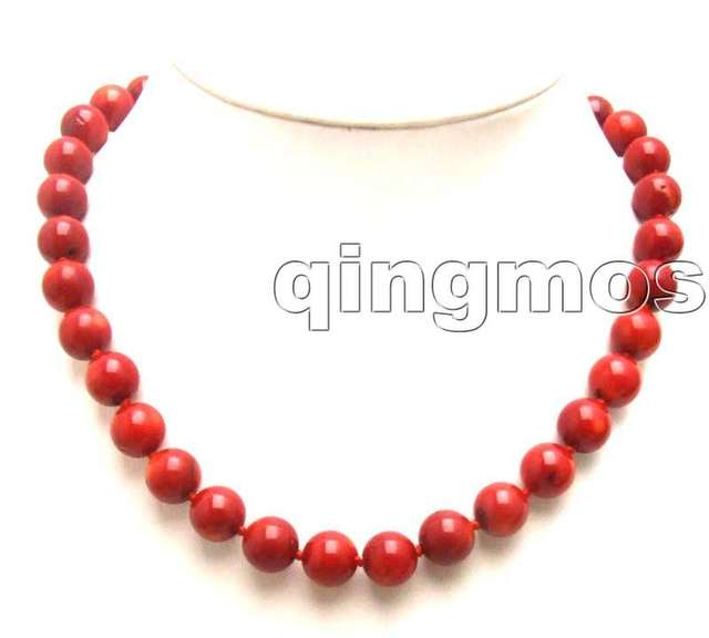 "SALE Big 11-12MM Perfect Round deep Red high quality natural Coral 18"" Necklace nec-5165 wholesale/retail Free shipping"