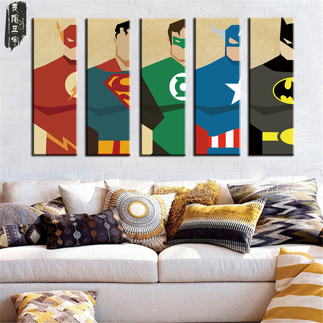 Oil Painting Canvas Paintings Art Prints Poster Hipster Wall Picture Canvas  Painting Cartoon Superman Kids Room Home Decor 5PCS
