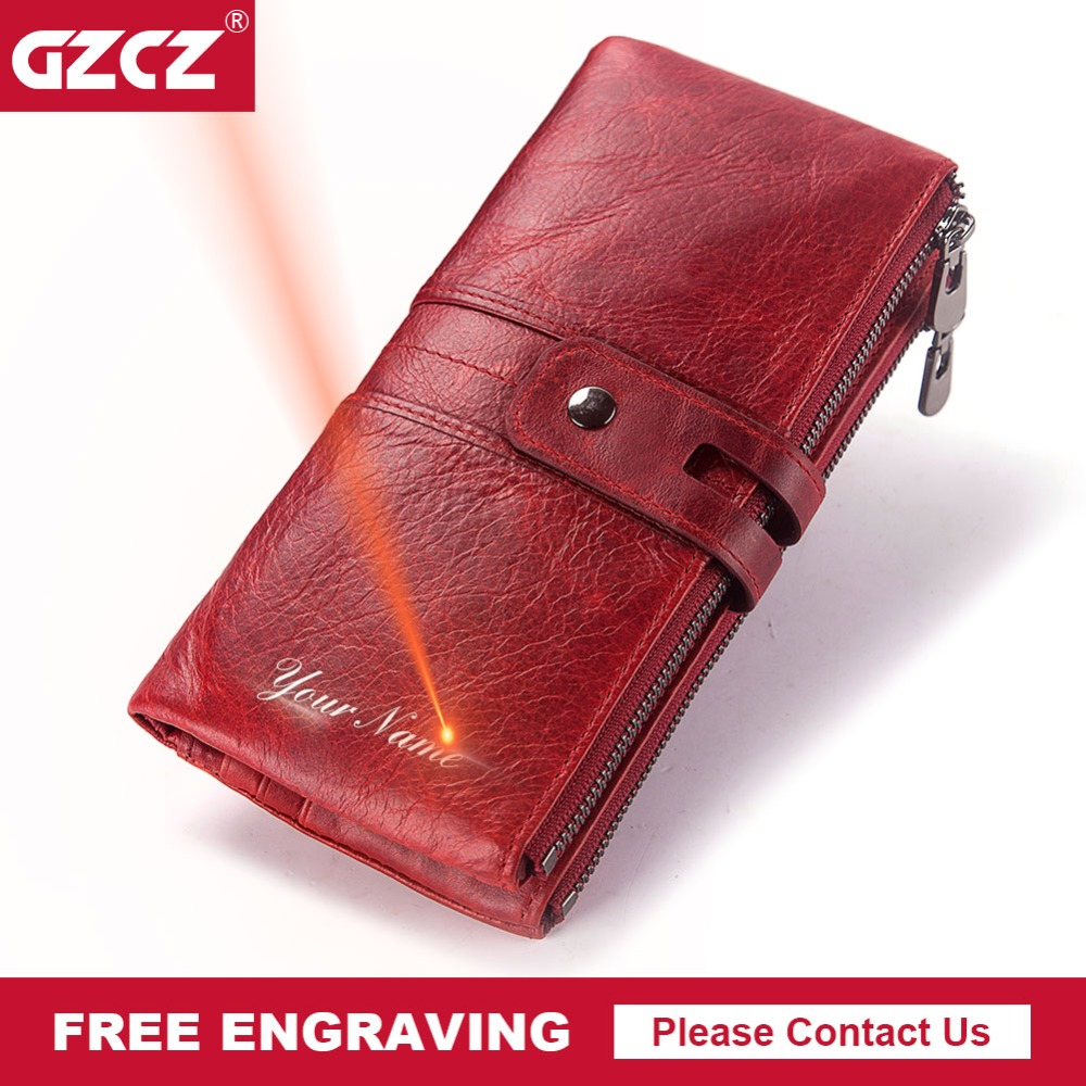 GZCZ New Genuine Leather Women Wallet Long Zipper Lady Handy Purse Cell Phone Pocket Clamp For Money Money Bag Free EngravingGZCZ New Genuine Leather Women Wallet Long Zipper Lady Handy Purse Cell Phone Pocket Clamp For Money Money Bag Free Engraving