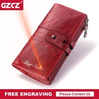 5ef452249 GZCZ New Genuine Leather Women Wallet Long Zipper Lady Handy Purse Cell  Phone Pocket Clamp For. GZCZ Novas Mulheres de Couro Genuíno Carteira ...