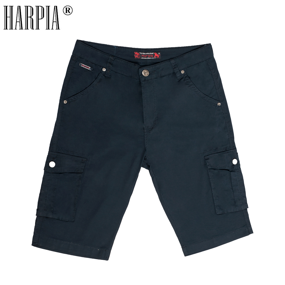 HARPIA Classic Cargo Pocket Men Shorts Mens Cotton Mid-Waist Knee Length Loose Shorts Male Bermuda Regular Stretch Short Pants